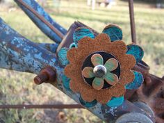 Sassy Leather Flower Bracelet by TheQueensDaughters on Etsy, $25.00