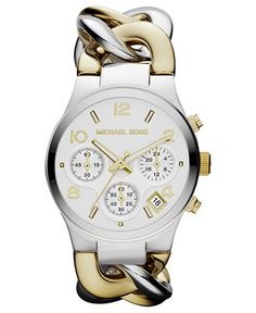 Michael Kors Watch, Women's Chronograph Two-Tone Stainless Steel Bracelet 38mm MK3199 - For Her - Jewelry & Watches - Macy's