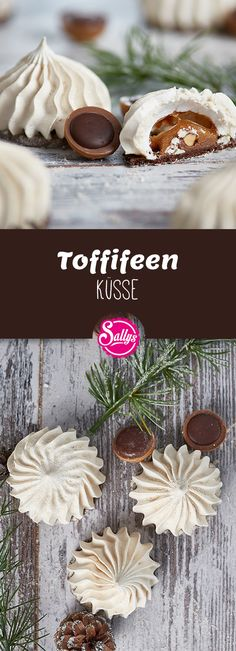 Toffifee kisses consist of a tender pastry biscuit and an airy light meringue mass. Inside hides the surprise: a Toffifee, which is mitgebacken. Incidentally, a perfect remnant recovery for leftover p Finger Food Appetizers, Great Appetizers, Appetizer Recipes, Finger Foods, Snack Recipes, Cauliflower Cheese Bake, Homemade Sauerkraut, Shortbread Biscuits, Fermented Foods