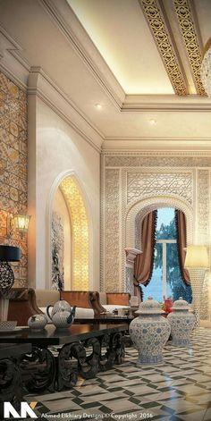 Luxury Homes Interior, Modern Interior Design, Arabian Decor, Moroccan Design, Moroccan Style, Hallway Designs, Moroccan Interiors, Ceiling Design, Home Decor