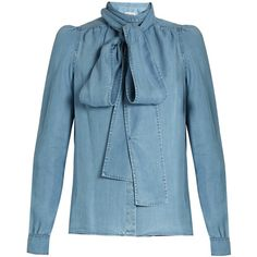 Sonia Rykiel Tie-neck chambray blouse ($365) via Polyvore featuring tops, blouses, shiny blouse, neck tie blouse, long sleeve tops, blue necktie and chambray blouse