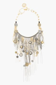 Versace • gold and silver microchain Fringe Necklace