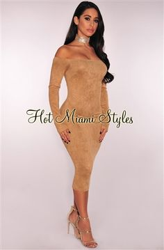 Mocha Faux Suede Off Shoulder Dress - Club Dresses Fashion Club Dresses, Sexy Dresses, Fashion Dresses, Sexy Gown, Clubwear Dresses, Hot Miami Styles, Black Bodycon Dress, Miami Fashion, Celebrity Dresses