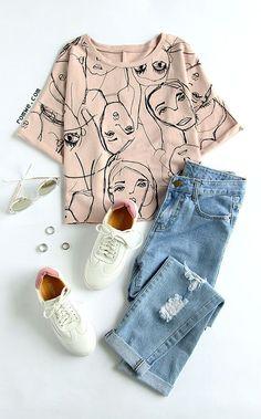 Pink Portrait Print Roll Sleeve T-Shirt (Cool Shirts Women) Fashion Mode, Teen Fashion Outfits, Mode Outfits, Look Fashion, Trendy Outfits, Korean Fashion, Summer Outfits, Womens Fashion, Flat Lay Fashion