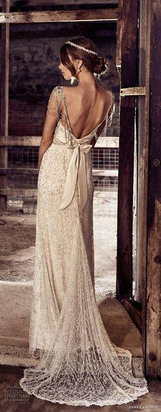 anna campbell 2018 bridal thin strap square neckline full embellishment glamorous soft a line wedding dress open back sweep train (14) bv -- Anna Campbell 2018 Wedding Dresses