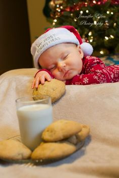 Owen - 3 months old  Christmas photo shoot Waiting for Santa Cookies and milk Sleeping baby Indoor photography