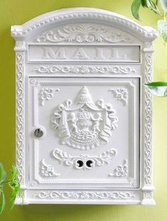 """Victorian Style Locking Mailbox (White) (17.5""""H x 12.25""""W x 3.75""""D) by Fuoriserie. $107.00. Powder coated finish. Locking with 2 keys. Size: 17.5""""H x 12.25""""W x 3.75""""D. Color: White. Die cast aluminum. Classical motifs, Victorian details, and a variety of beautiful finishes are what make this wall mounted mail box a great enhancement for any home's entrance. This locking mailboxis crafted fromdie cast aluminum with an antique powder coat finish. Two keys ..."""