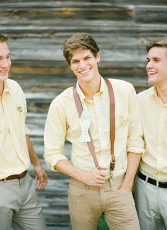 Inspiration - Yellow gingham shirts and yellow suspenders for the groomsmen Wedding Groom, Rustic Wedding, Our Wedding, Dream Wedding, Wedding Prep, Wedding Planner, Men's Fashion, Formal Fashion, Groom Looks