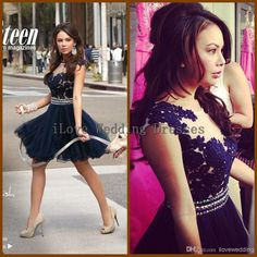 Wholesale Prom Dresses - Buy Cheap Short Prom Dresses 2014 A Line Bateau Sheer Lace Appliques Deep Blue Evening Dress Sash Beaded Pearls Tulle Party Gowns Zipper Y12169, $129.0 | DHgate