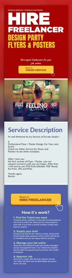 Design Party Flyers & Posters Design & Graphics, Poster & Flyer Design   Hi and Welcome to my Service at Envato Studio !    A Professional Flyer / Poster Design For Your next Event.  Check my Other Service for Flyers and Posters to see other examples.      After I sent you the first version of Flyer / Poster, you can request revisions until you are happy. After that, I will sent to you PSD Fully E...