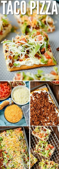 """TACO PIZZA An easy family dinner (you can even make it the night before) or a tasty appetizer. Kids love this recipe and the cream cheese/sour cream """"sauce"""" and spicy taco flavor are a hit with adults too. # easy dinner recipes for 4 TACO PIZZA Taco Pizza Recipes, Mexican Food Recipes, Beef Recipes, Healthy Recipes, Veggetti Recipes, Tilapia Recipes, Casserole Recipes, Mexican Meat, Snacks"""