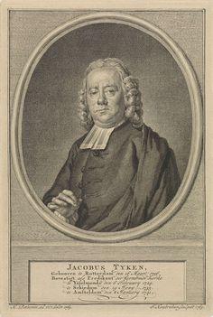 Jacob Houbraken | Portret van Jacobus Tijken, Jacob Houbraken, 1769 | Portret ten halven lijve van Jacobus Tijken in een ovaal medaillon. Het portret rust op een richel waarop zijn naam en gegevens in zes regels in het Nederlands.