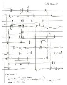 Score by John Cage. A landscape could be thought of like a long score, a sequence of parallel experieces with abrupt and unexpected connections across time and space. Almost all JC  scores are available free online! ubu.wfmu.org/text/Cage-John_Notations.pdf via http://synthetic-landscapes.blogspot.co.uk/2009/07/notation.html?m=1