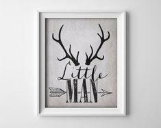 Buy One Get One Free - Art Print - Little Man - Deer Antlers - Arrow - Grey - Neutral - Rustic - Nursery - Baby boy - Child