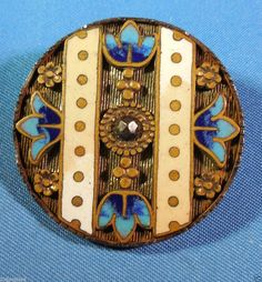 "Antique enamel button in a steel cup & center steel rivet. ,Size is 1-5/16"" dia."