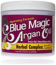 Blue Magic Argan Oil Herbal Complex Leave In Conditioner, Made with 100% Pure Argan Oil. Hydrating Formula. Restore Hair's Natural Moisture Balance. Adds Shine & Softness. Herbal Oil, Herbal Extracts, Leave In Conditioner, Hair Conditioner, Afro Hair Care, Argon Oil, Pure Argan Oil, Hydrate Hair, Blue Magic