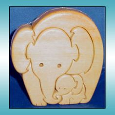 Mother Elephant With Baby Scroll Saw Wood Animal Puzzle