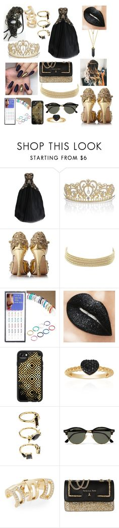 """Prom pt.15"" by obeyme1121 ❤ liked on Polyvore featuring Marchesa, Charlotte Russe, Casetify, Belk & Co., Noir Jewelry, Ray-Ban, Swarovski and Patrizia Pepe"