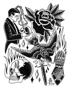 Ink It Up Trad Tätowierungen TattooMe oldschool Rose Tattoo Traditional, Traditional Tattoo Black And Grey, Traditional Tattoo Old School, Traditional Japanese Tattoo Flash, Black Ink Tattoos, Black And Grey Tattoos, Desenhos Old School, Natur Tattoos, Catrina Tattoo