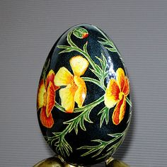 California poppies Goose egg Pysanka by agats on Etsy, $34.00