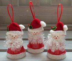 clay flower pot crafts | to make this flower pot santa ornament use a 2 flower pot wooden bead ...