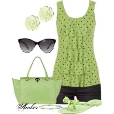 Green & black, cute summer outfit.