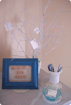 Wishing Tree for Baby. Each guest fills out a wish for the Baby and hangs it on a branch. Love this idea for a shower