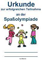 Spaßolympiade Urkunde | Ideen für Kinder | Pinterest