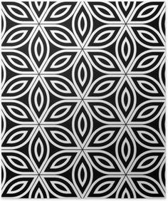 Poster Vector moderne seamless sacré de la géométrie, noir et blanc fleur abstraite géométrique de vie fond, papier peint impression, monochrome rétro texture, design de mode hipster