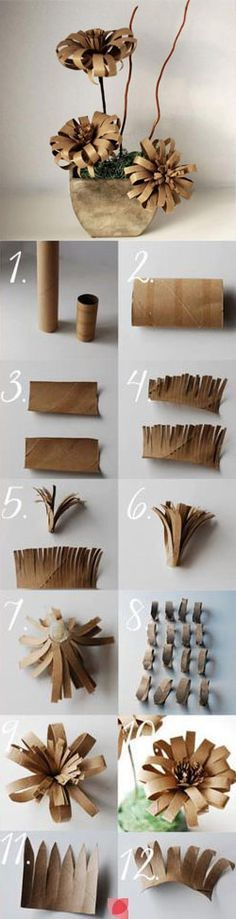 Paper Flower made from a recycled wrapping paper tube and a recycled toilet paper roll. - Easy Paper Crafts for the room maybe? Toilet Paper Roll Art, Toilet Paper Roll Crafts, Easy Paper Crafts, Cardboard Crafts, Diy Paper, Crafts For Kids, Toilet Paper Flowers, Cardboard Paper, Cute Diy Projects