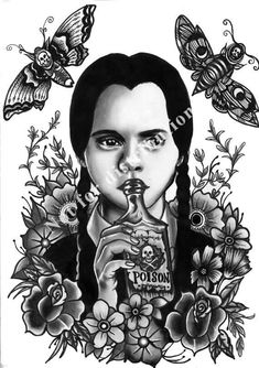 Hey, I found this really awesome Etsy listing at https://www.etsy.com/uk/listing/494184074/wednesday-addams-a3-large-fine-art-print