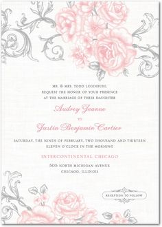 Signature White Textured Wedding Invitations - Antique Rose Scrolls by Wedding Paper Divas