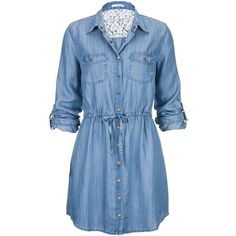 tie waist long denim shirt dress found on Polyvore