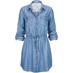 tie waist long denim shirt dress (58 CAD) ❤ liked on Polyvore featuring dresses, vestidos, tops, short dresses, blue shirt dress, long dresses, denim shirt dress, short denim dress and blue mini dress