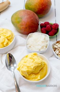 Enjoy this simple two ingredient mango frozen yogurt anytime! Ready in under 5 minutes, this gluten free, high protein frozen yogurt has no added sugars or sweeteners.