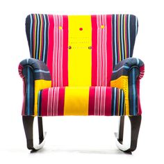 Contemporary African Art, Contemporary Home Decor, Contemporary Design, Modern Color Palette, Modern Colors, Bold Colors, Diy Chair, Chair And Ottoman, Contemporary Armchair