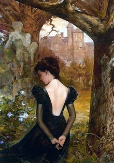 Blue Summer Evening. Vintage Gothic Romance.