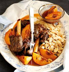 Lamb and quince tagine with saffron Dream Recipe, Lamb Dishes, Honey And Cinnamon, Cooking Instructions, Fresh Ginger, Pot Roast, Soul Food, Yummy Food, Favorite Recipes