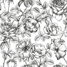 001 Floral Print | Black & White