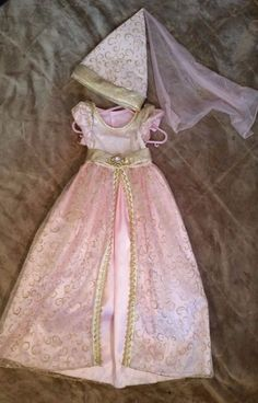 Girls Dress & Cone Hat Barbie Princess Anneliese Pink Halloween Costume sz 3 4 #CompleteOutfit