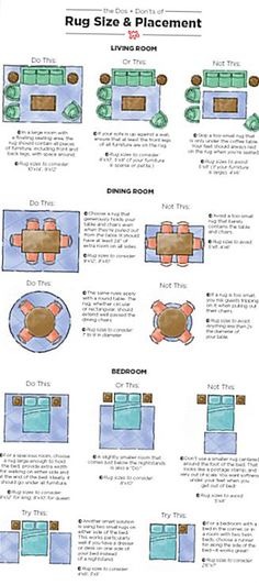 To take some of the guesswork out of choosing the right rug size for your space weve created a handy illustration with all the rug rules you need to know. Living Room Carpet, Rugs In Living Room, Living Room Designs, Living Room Decor, Bedroom Rugs, How To Decorate Living Room, How To Design Living Room, Diy Bedroom, Living Room Size