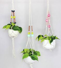 Macrame Hanging Plants using cord, copper, and colorful beads