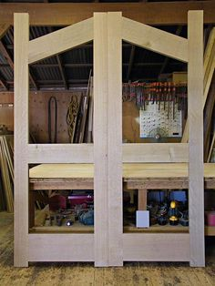 white oak double doors dry fit together