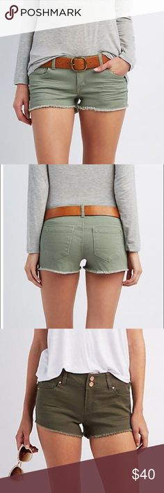 Refuge Olive Shorts 2 button and zipper closure. Exact color in first picture. Excellent condition. Fast shipping Charlotte Russe Shorts