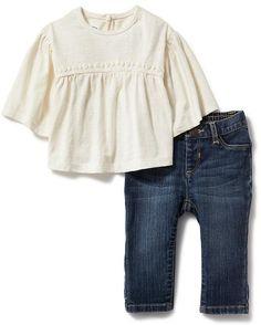 2-Piece Drop-Shoulder Blouse and Jeans Set | Old Navy