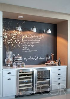 Wet bar / side board / entertaining nook. Chalkboard in cooking area! Would be so great if you had a tv in the kitchen or close to it for cooking shows and instantly write down the ingredients!