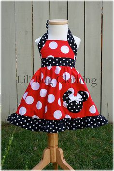 Custom Boutique Clothing Red White Dot Minnie Mouse Halter Dress Disney on Etsy, $39.99