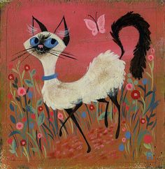 Such a wonderfully cute Siamese cat painting. #art #cats #cute