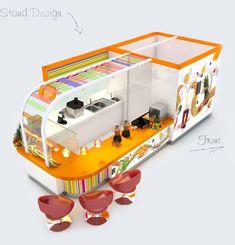 juice and smoothie bar Kiosk Design, Cafe Design, Booth Design, Crepe Bar, Pop Up, Juice Bar Design, Mall Kiosk, Smoothie Shop, Food Kiosk
