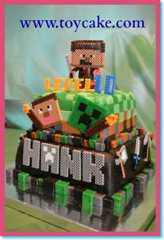 Easy Peasy Minecraft Cake For A Happy Boy Turning 13!